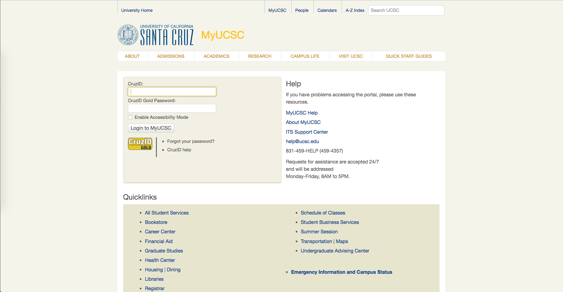 Screen shot MyUCSC login